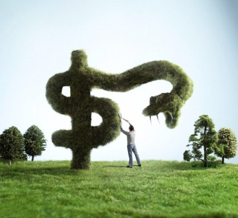 Man pruning snake-shaped dollar sign hedge --- Image by © C.J. Burton/Corbis